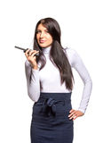 Business woman on the walkie-talkie Royalty Free Stock Photo