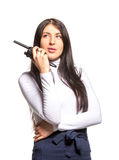 Business woman on the walkie-talkie Stock Image