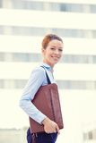 Business woman walking background corporate office building. Business woman walking on background corporate office city building. Lawyer professional outside Royalty Free Stock Photos