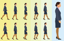 Business Woman Walking Cycle Royalty Free Stock Photography