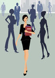 Business woman walking with documents Stock Photos
