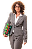Business woman walking with file folders Stock Photo