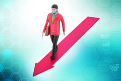 Business woman walking on growing arrow Royalty Free Stock Photography