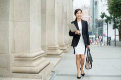 Business woman walking at outdoor Stock Photo
