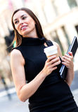 Business woman walking outdoors Royalty Free Stock Images