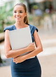 Business woman walking outdoors Stock Photo