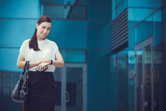 Business woman walking outside in city Royalty Free Stock Images
