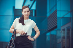 Business woman walking outside in city Royalty Free Stock Photography