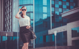 Business woman walking outside in city Royalty Free Stock Image