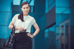 Business woman walking outside in city Royalty Free Stock Photos
