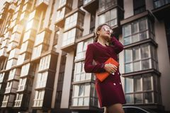 Business woman walking outside in city Stock Images