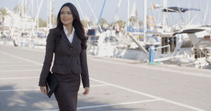 Business Woman Walking On The The Pier Stock Image