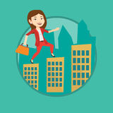 Business woman walking on the roofs of buildings. Stock Images