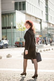 Business woman walking street Royalty Free Stock Images