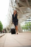 Business woman walking and talking in the city Royalty Free Stock Photo