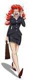 Business Woman Walks And Talks On Cellphone. A illustration of a red-head business woman walking with a briefcase and talking on her cellphone royalty free illustration