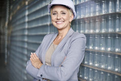 Business woman in warehouse Royalty Free Stock Photos