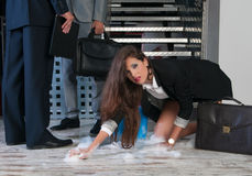 Business woman washing the floor equality concept Stock Photos