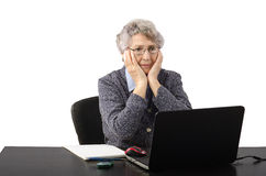 Business woman watching bad news on the monitor Stock Photography