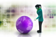 Business woman watching earth Royalty Free Stock Photography