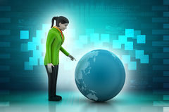 Business woman watching earth Royalty Free Stock Photo