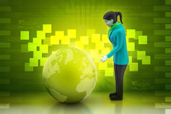 Business woman watching earth Stock Photo