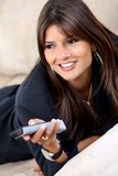 Business woman watching tv Royalty Free Stock Photo