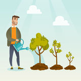 Business woman watering trees vector illustration. Caucasian business investor watering trees of three sizes. Business investor watering plants with watering Royalty Free Stock Photos