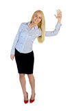 Business woman wave hand stock images