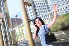 Business Woman Waving Goodbye Royalty Free Stock Photos