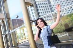 Business Woman Waving Goodbye Royalty Free Stock Photos