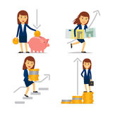 Business woman on way to financial success. Businesswoman money and business woman on way to financial success. Vector illusration Stock Images