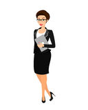 Business woman wearing black suit. Isolated on white Stock Images