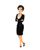 Business woman wearing black suit Stock Photography