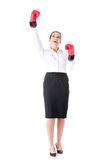 Business woman wearing boxing gloves. Stock Photography