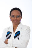 Business woman wearing glasses. Portrait of intellegent African American business woman wearing white shirt, scarf and glasses Stock Photos