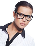 business woman wearing glasses Stock Images