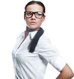Business woman wearing glasses Royalty Free Stock Images