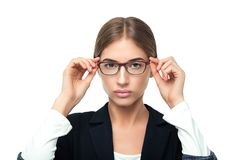 Business woman wearing glasses royalty free stock photo