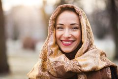 Business woman wearing headscarf. Smiling young and happy business woman wearing headscarf Stock Photos