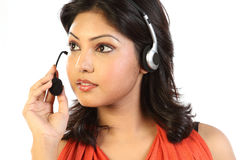 Business woman wearing a headset. Stock Images