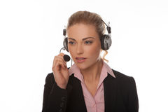 Business woman wearing headset Royalty Free Stock Images