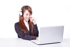 Business woman wearing headset with smile Royalty Free Stock Image