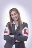 Business woman wearing L plates stock photo