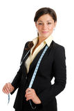 Business woman wearing a measuring tape Royalty Free Stock Photography