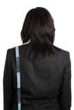 Business woman wearing a measuring tape Royalty Free Stock Photo