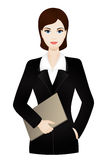 Business woman wearing an office suit with document case. Young beautiful business woman, vector Royalty Free Stock Photo