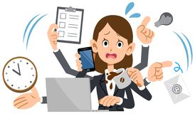 A business Woman wearing a suit is busy stock illustration