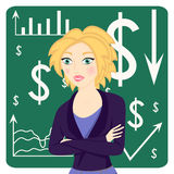 Business woman wearing a suit and her arms folded on chart background Stock Images