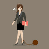 Business woman with weight burden Stock Photo
